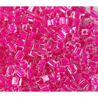 4mm Miyuki Square Beads, Fuschia Lined Crystal, 10 Gram Bag