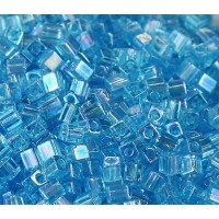 4mm Miyuki Square Beads, Rainbow Sky Blue, 10 Gram Bag