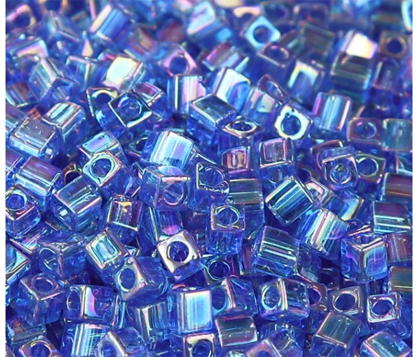 4mm Miyuki Square Beads, Rainbow Cobalt Blue, 10 Gram Bag