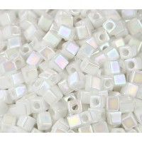 4mm Miyuki Square Beads, Rainbow Opaque White, 10 Gram Bag