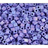 4mm Miyuki Square Beads, Matte Rainbow Opaque Cobalt, 10 Gram Bag