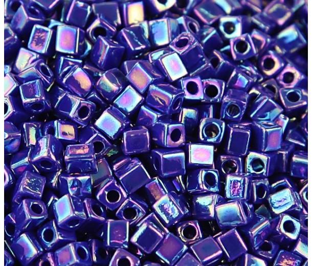 4mm Miyuki Square Beads, Rainbow Opaque Cobalt, 10 Gram Bag