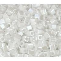 4mm Miyuki Square Beads, Opaque White Luster, 10 Gram Bag