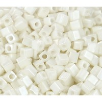 4mm Miyuki Square Beads, Opaque Cream Luster, 10 Gram Bag