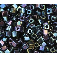 4mm Miyuki Square Beads, Metallic Midnight Blue, 10 Gram Bag