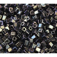 4mm Miyuki Square Beads, Rainbow Metallic Olive, 10 Gram Bag
