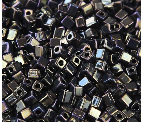 4mm Miyuki Square Beads, Rainbow Metallic Olive, 10 Gram Bag