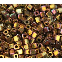 4mm Miyuki Square Beads, Rainbow Rose Gold, 10 Gram Bag