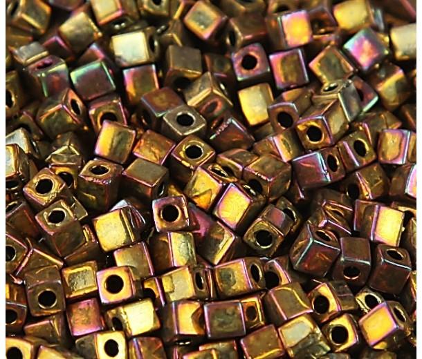 4mm Miyuki Square Beads, Rainbow Rose Gold, 10 Gram Bag