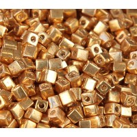 4mm Miyuki Square Beads, Galvanized Gold, 10 Gram Bag