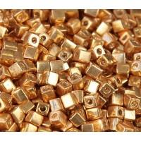 4mm Miyuki Square Beads, Galvanized Gold, 10 Gram Bag