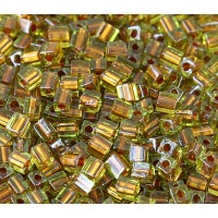 4mm Miyuki Square Beads, Bronze Lined Peridot, 10 Gram Bag