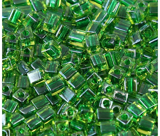 4mm Miyuki Square Beads, Medium Green Lined Peridot, 10 Gram Bag