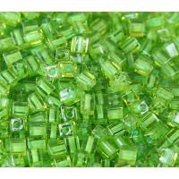 4mm Miyuki Square Beads, Neon Green Lined Peridot, 10 Gram Bag