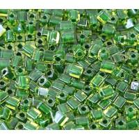 4mm Miyuki Square Beads, Emerald Green Lined Peridot, 10 Gram Bag