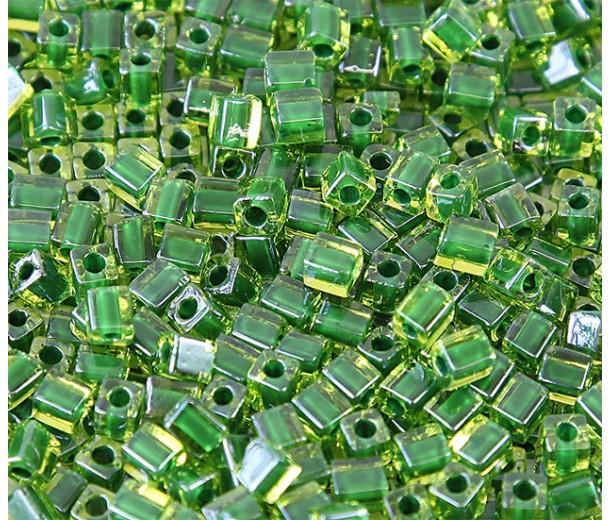 4mm Miyuki Square Beads, Emerald Green Lined Peridot, 10 Gram Bag
