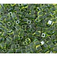 4mm Miyuki Square Beads, Dark Green Lined Peridot, 10 Gram Bag