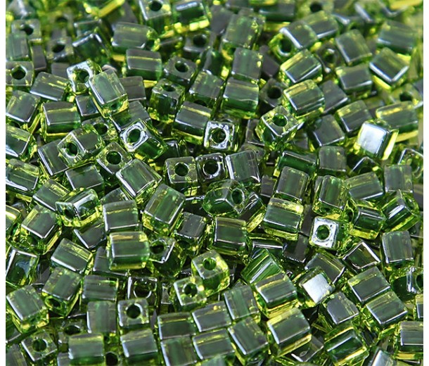 4mm Miyuki Square Beads, Dark Green Lined Peridot, 10 Gram Bag