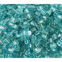 4mm Miyuki Square Beads, Light Green Lined Blue, 10 Gram Bag