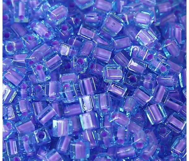 4mm Miyuki Square Beads, Lavender Lined Blue, 10 Gram Bag