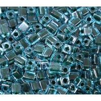 4mm Miyuki Square Beads, Dark Teal Lined Blue, 10 Gram Bag