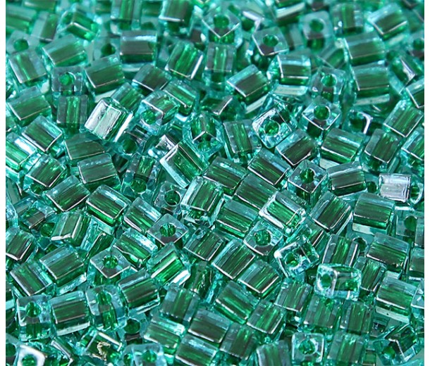 4mm Miyuki Square Beads, Emerald Green Lined Blue, 10 Gram Bag