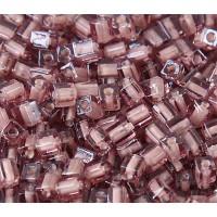 4mm Miyuki Square Beads, Dusty Rose Lined Rose Pink, 10 Gram Bag