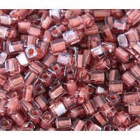 4mm Miyuki Square Beads, Cinnamon Lined Rose Pink, 10 Gram Bag