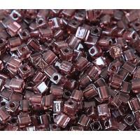 4mm Miyuki Square Beads, Dark Amethyst Lined Rose Pink, 10 Gram Bag