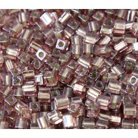 4mm Miyuki Square Beads, Taupe Lined Rose Pink, 10 Gram Bag