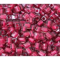4mm Miyuki Square Beads, Magenta Lined Lavender, 10 Gram Bag