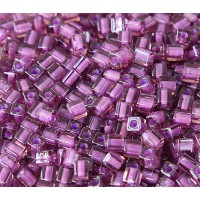 4mm Miyuki Square Beads, Violet Lined Rose Pink, 10 Gram Bag