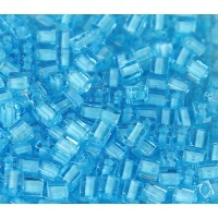 4mm Miyuki Square Beads, Light Blue Lined Blue, 10 Gram Bag
