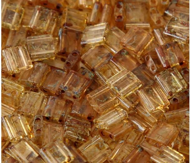 5x5mm Miyuki Tila Beads, Amber Picasso, 10 Gram Bag