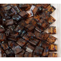 5x5mm Miyuki Tila Beads, Dark Amber Picasso, 7.2 Gram Tube