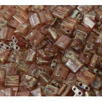 5x5mm Miyuki Tila Beads, Autumn Brown Picasso, 10 Gram Bag