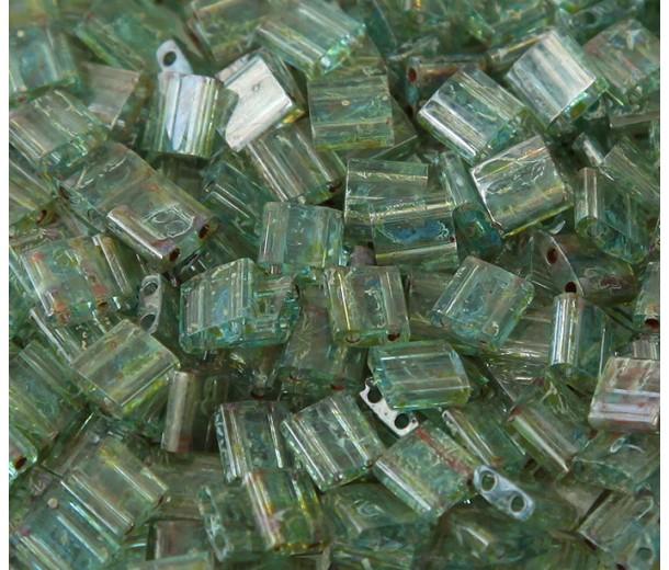 5x5mm Miyuki Tila Beads, Moss Green Picasso, 10 Gram Bag