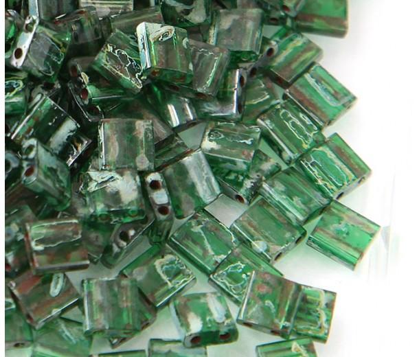 5x5mm Miyuki Tila Beads, Jade Green Picasso, 10 Gram Bag