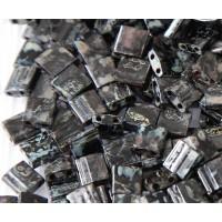 5x5mm Miyuki Tila Beads, Smoky Black Picasso, 7.2 Gram Tube