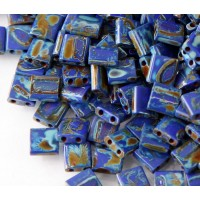 5x5mm Miyuki Tila Beads, Opaque Dark Blue Picasso, 10 Gram Bag