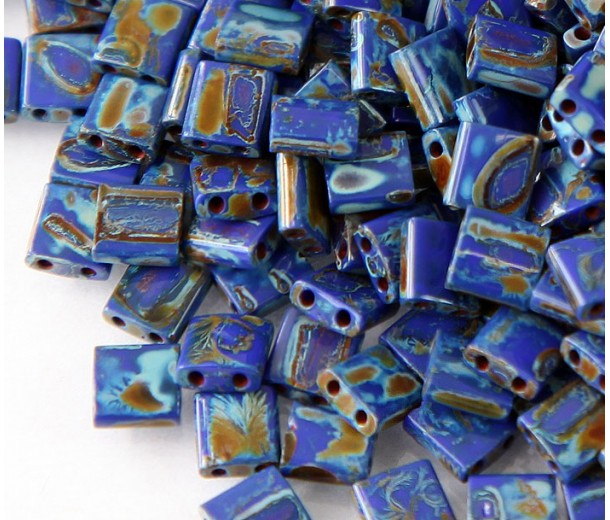 5x5mm Miyuki Tila Beads, Dark Denim Picasso, 7.2 Gram Tube