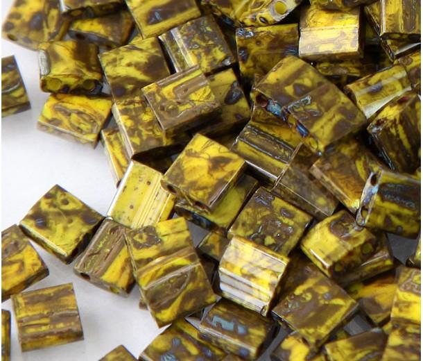 5x5mm Miyuki Tila Beads, Opaque Olive Picasso, 7.2 Gram Tube