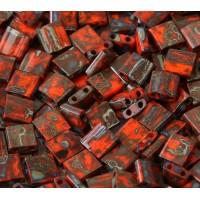 5x5mm Miyuki Tila Beads, Opaque Coral Red Picasso, 10 Gram Bag