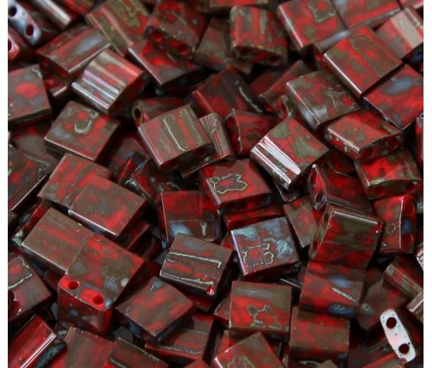 5x5mm Miyuki Tila Beads, Opaque Garnet Picasso, 10 Gram Bag