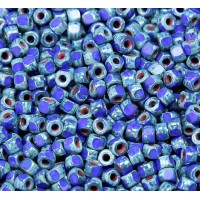 6/0 Matubo 3-Cut Seed Beads, Blue Picasso, 5 Gram Bag