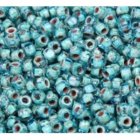 6/0 Matubo 3-Cut Seed Beads, Aquamarine Picasso, 5 Gram Bag