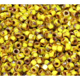 6/0 Matubo 3-Cut Seed Beads, Yellow Picasso