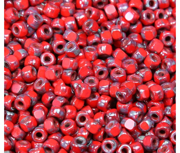 6/0 Matubo 3-Cut Seed Beads, Opaque Red Picasso