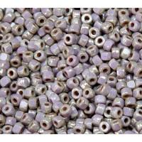 6/0 Matubo 3-Cut Seed Beads, Amethyst Silver Picasso, 5 Gram Bag