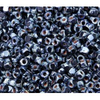 6/0 Matubo 3-Cut Seed Beads, Jet Silver Picasso